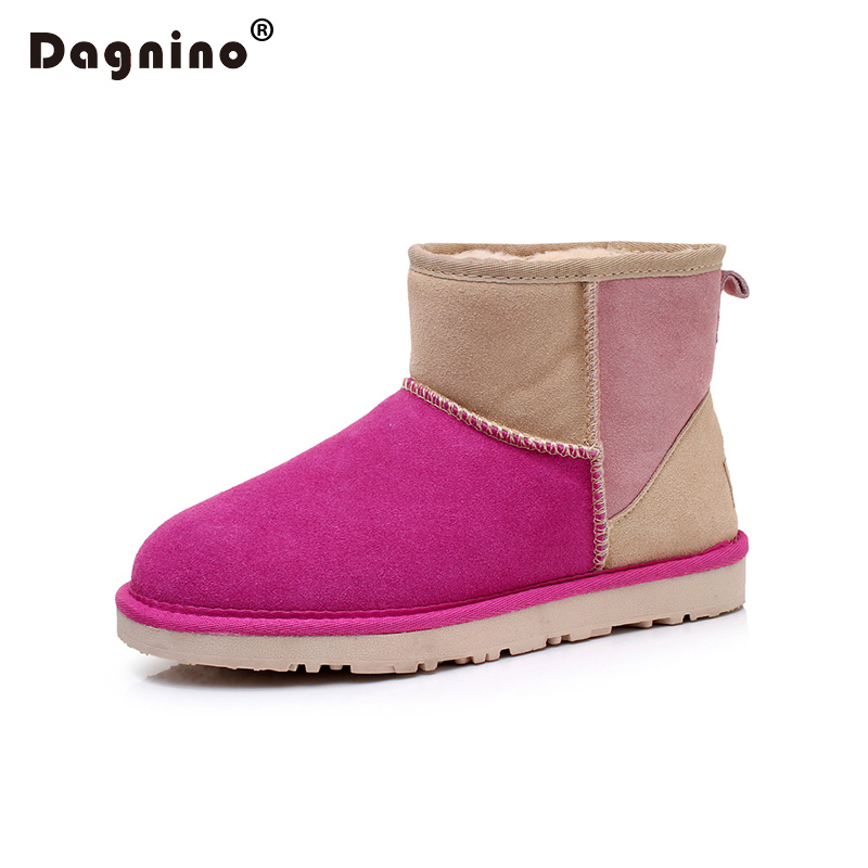 DAGNINO Brand Original Genuine Cowhide Leather Patchwork Snow Boots Short Women Winter Warm Australia Ug Style Shoes Lady Ankle