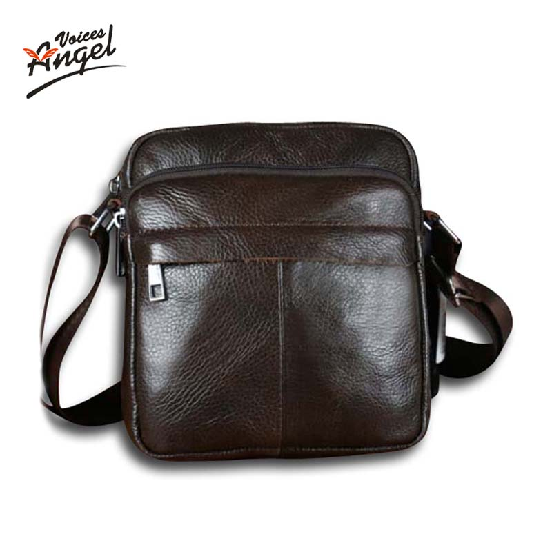 цена на Angel Voices! Hot sale New fashion genuine leather men bags small shoulder bag men messenger bag crossbody leisure bag XP491