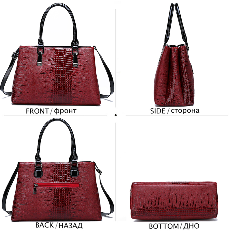 Luxury Crocodile Pattern Purses and Handbags Sets High Quality Leather Shoulder Bag Large Capacity Crossbody Bag Ladies HandBags in Top Handle Bags from Luggage Bags