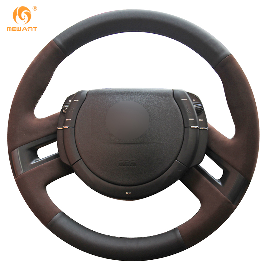 MEWANT Black Genuine Leather Coffee Suede Car Steering Wheel Cover for Citroen C4 Picasso 2007-2013 mewant black genuine leather black suede car steering wheel cover for mitsubishi lancer ex outlander asx colt pajero sport