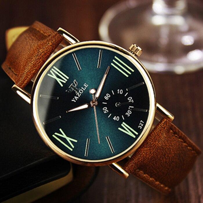 YAZOLE Famous Luminous Leather Watches Men Luxury Brand Fashion Casual Men Wristwatches Male Watch Clock Relogio