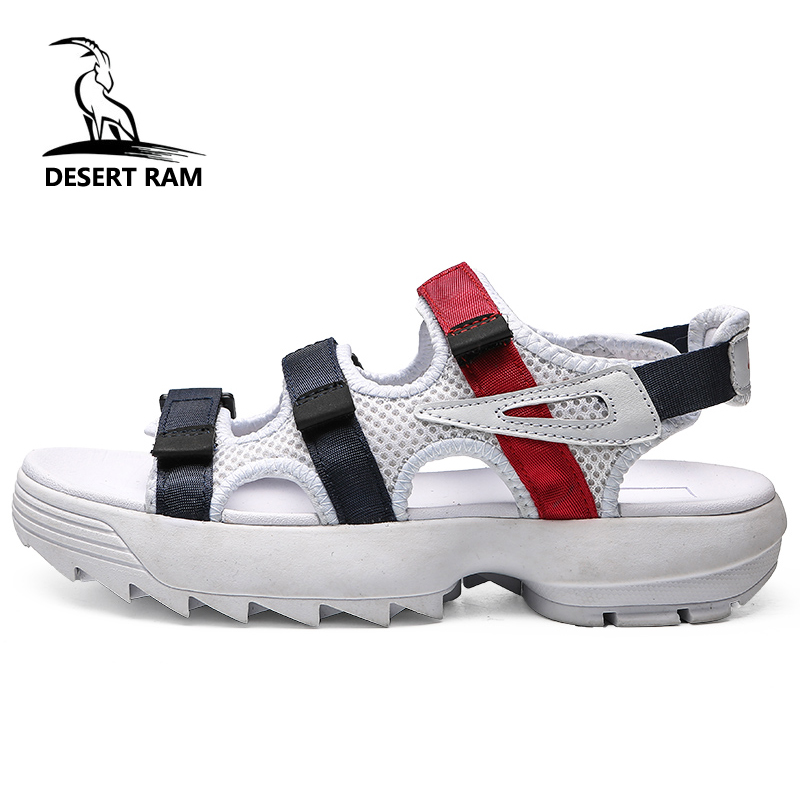 DESERT RAM Brand Duty-Free Black White Casual Band Sandals Fashion Shoes Men Summer Mesh Breathable Sandalias Beach Water Shoe