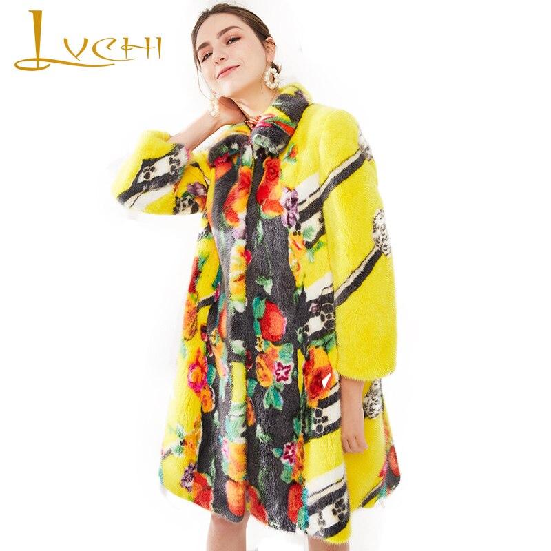 LVCHI Winter2017 Import Crown Mink Velvet Coats Gold Print Flower Women's Full Sleeve Print Mandarin Causal Long Slim Mink Coats