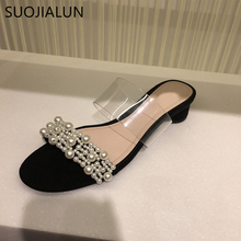 цены SUOJIALUN Women Brand Slippers Pearl Summer Sandals Flats String Bead Fashion Ladies Outdoor Beach Slides Shoes Elegant Slipper