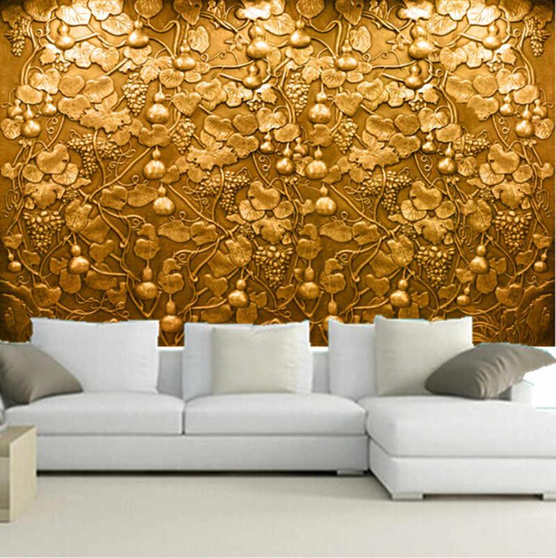 Các tùy chỉnh 3d tranh tường, vàng stereo 3d cứu trợ nho nho bầu tranh tường Papel de parede, phòng khách TV sofa giấy tường phòng ngủ tường
