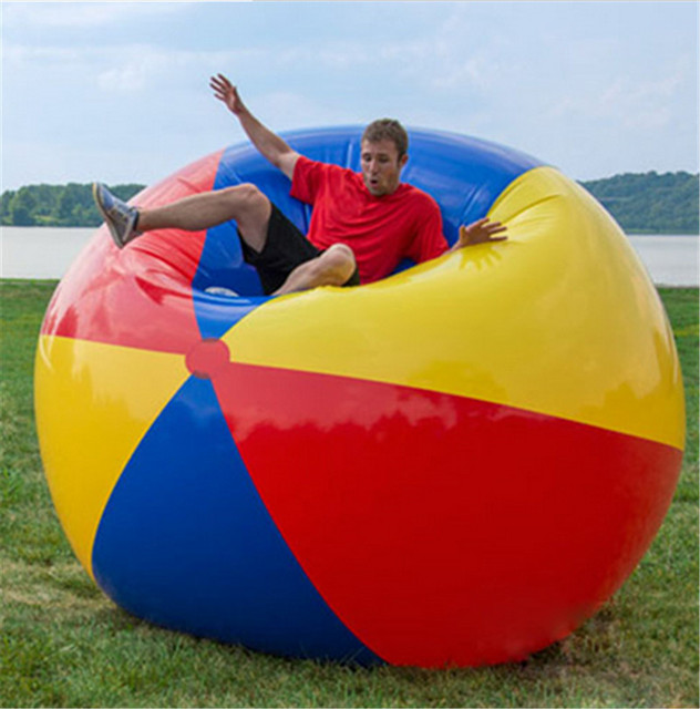 Beach Ball In Pool With Giant Colorful Beach Volleyball Inflatable Ball Swimming Pool Inflated Toy Balls Summer Holiday Outdoor Fun