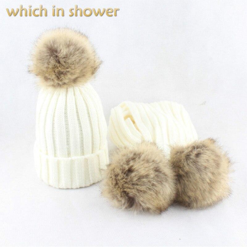 Kids Faux Raccoon Fur Pompom Knitted Scarf Hat Set Artificial Rabbit Fur Pom Pom Scarf And Hat Fur Pompon Female Cap Neck Warmer