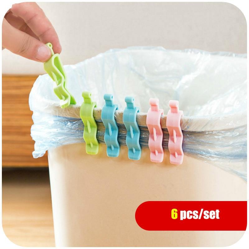 6Pcs Household Garbage Basket Can Waste Bin Dustbin Trash Junk Edge Bag Barrel Clip Clamp Plastic Lock Holder Clips Home Office