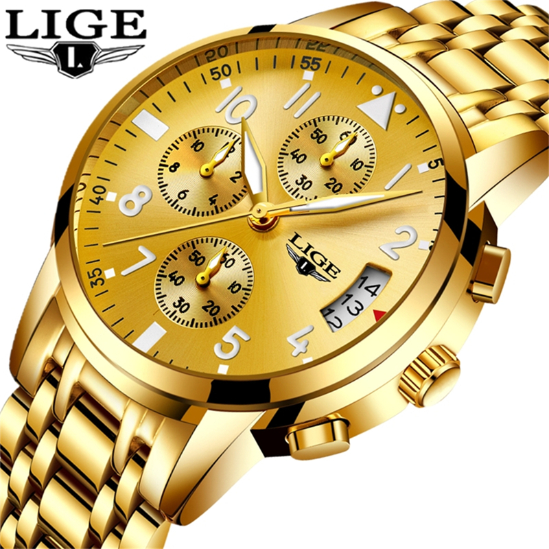 LIGE Gold Watch Men New Mens Watches Top Brand Luxury Business Clock Man Full Steel Fashion Sport Quartz Watch relogio masculino lige gold watch men new mens watches top brand luxury business clock man full steel fashion sport quartz watch relogio masculino