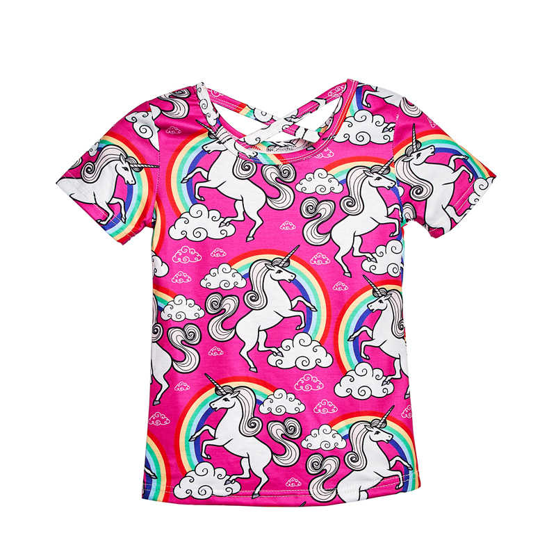 e7ed3a622 2019 Hot Rainbow Printed Girls Summer Tops Children Cross Back Tees Kids  Casual T-shirt