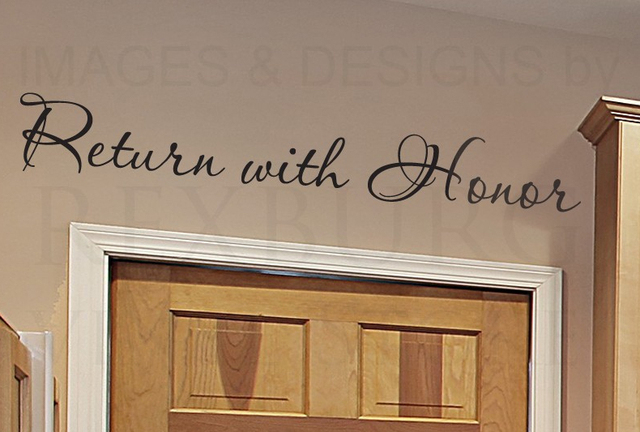 cacar home wall decal quote sticker vinyl art return with honor