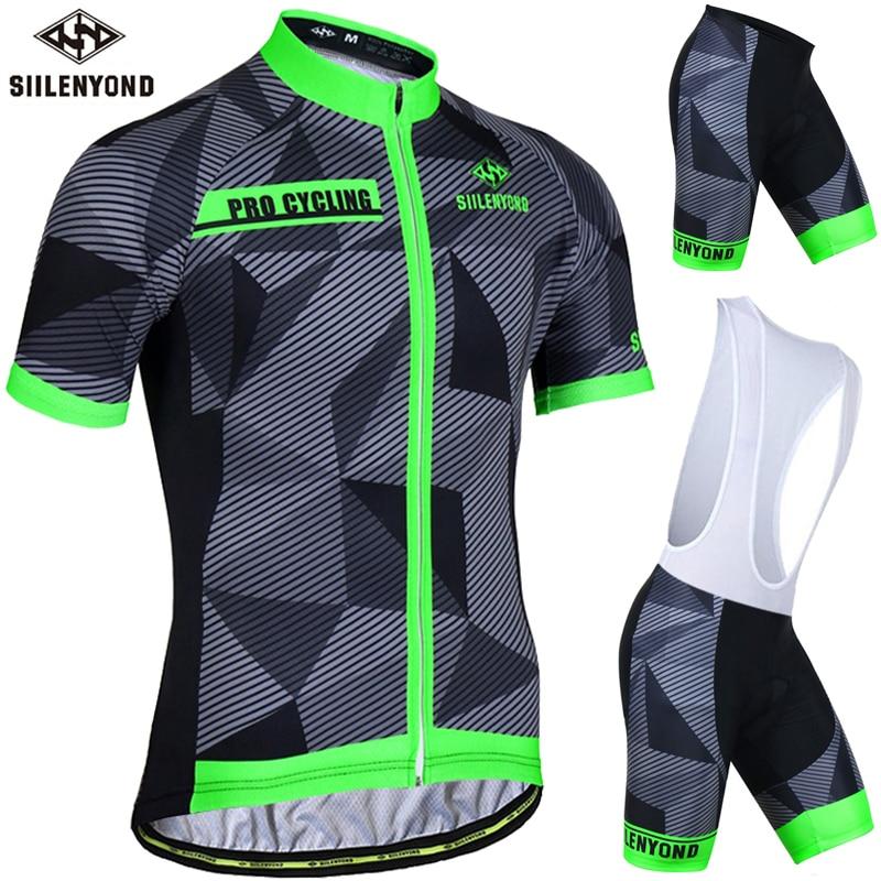 Siilenyond แป้งสีเขียวฤดูร้อนขี่จักรยานย์ชุดขี่จักรยานเสื้อผ้าสูทแขนสั้น MTB จักรยานเสื้อผ้าจักรยานเสือภูเขากีฬา