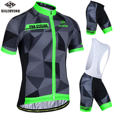 Siilenyond Flour Green Summer Cycling Jersey Set Cycling Clothing Suit Short Sleeve MTB Bicycle Clothes Mountain Bike Sportswear