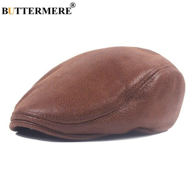 BUTTERMERE Men Beret Hats Leather Faux Female Brown British Vintage Flat  Caps Winter Casual Fashionable Driving Gatsby Cap 87e1e419046