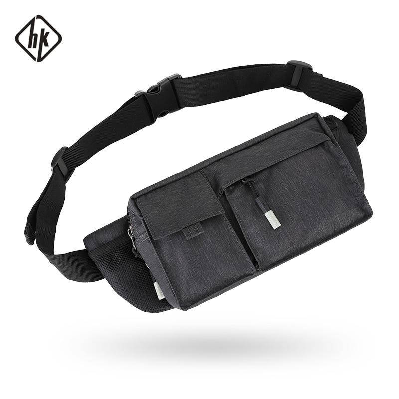 Hk pacotes de cintura homens saco de cinto preto pacote de fanny para o viajante bum saco de cintura masculina bolsa de quadril multi-função bolsa de equitação