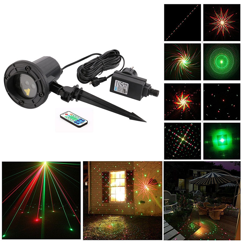 christmas lights outdoor laser 8 Big Patterns RF Remote RG Projector Waterproof IP65 Snowflake Xmas Tree Garden Decoration lamp rg mini 3 lens 24 patterns led laser projector stage lighting effect 3w blue for dj disco party club laser
