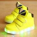 2017 de la moda europea colorido iluminado niños zapatillas de deporte casuales de alta calidad de bebé fresco botas ventas calientes muchachas de los muchachos del bebé shoes
