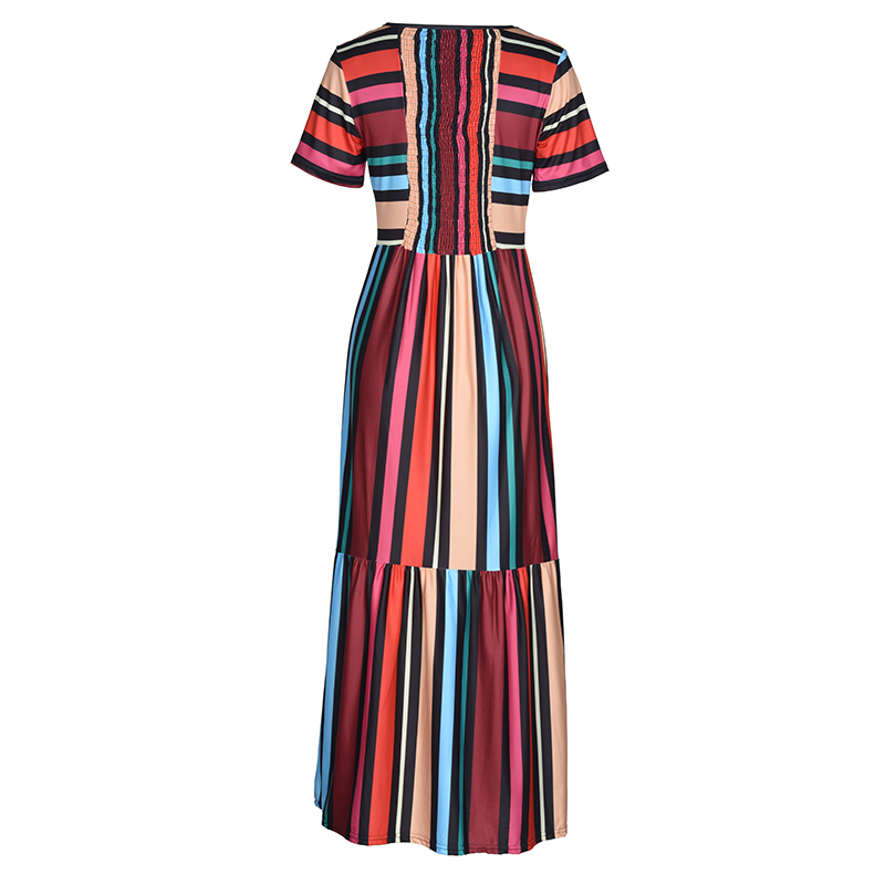 BEFORW 19 Harajuku Casual Dress Women Clothes Fashion Rainbow Stripe Long Dress Vestidos Female Summer Beach Maxi Dresses 2