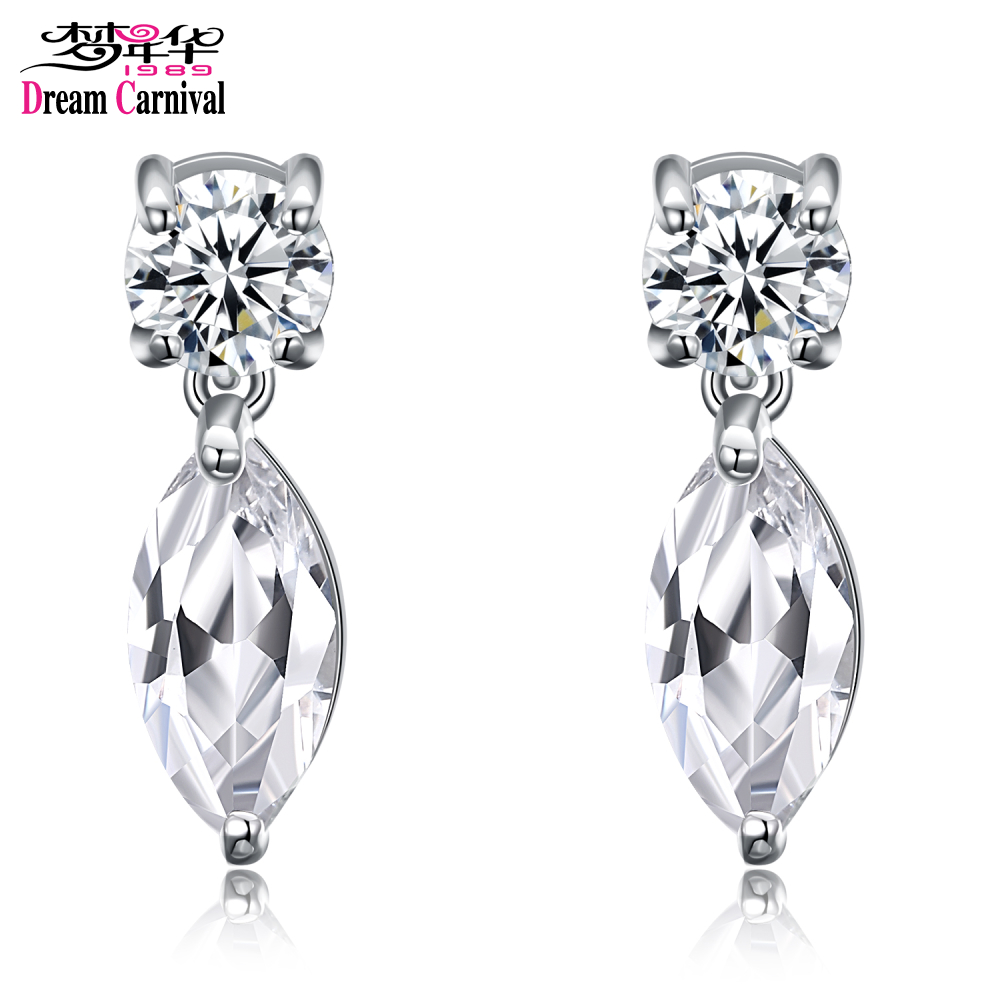 DreamCarnival 1989 Classic Round Horse Eye Shape Drop Earrings for Women Rhodium Gold Jewelry Super Sales Gift Mujeres Brincos