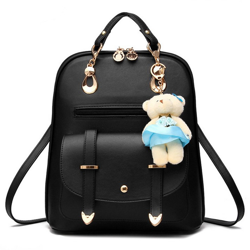 2017 New Casual Girls Backpack PU Leather Cute Cartoon Bear Women Backpack Fashion Backpacks Clutch Purse Clutch Purse zs635 hot fashion design personality little bear women backpacks cute character shapes cartoon girls schoolbag casual shoulder bag