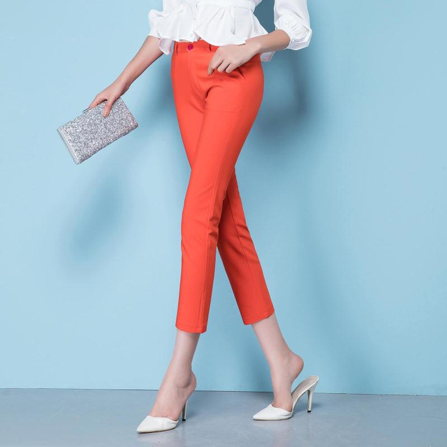 Spring Women's Casual Candy Pencil Pants 2019 Fashion Slim Elastic Cotton Trousers Women Solid 20 Color Plus Size pants S-4XL