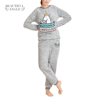 Women Kawaii Unicorn Flannel Pajama Suit Sets Cartoon Animal Thick Bundle Plush Pijama Costume Nightgown Sleepsuit