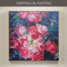 Skilled Artist Hand-painted 4 Kinds of High Quality Impression Flower Oil Painting on Canvas Impressionist Floral