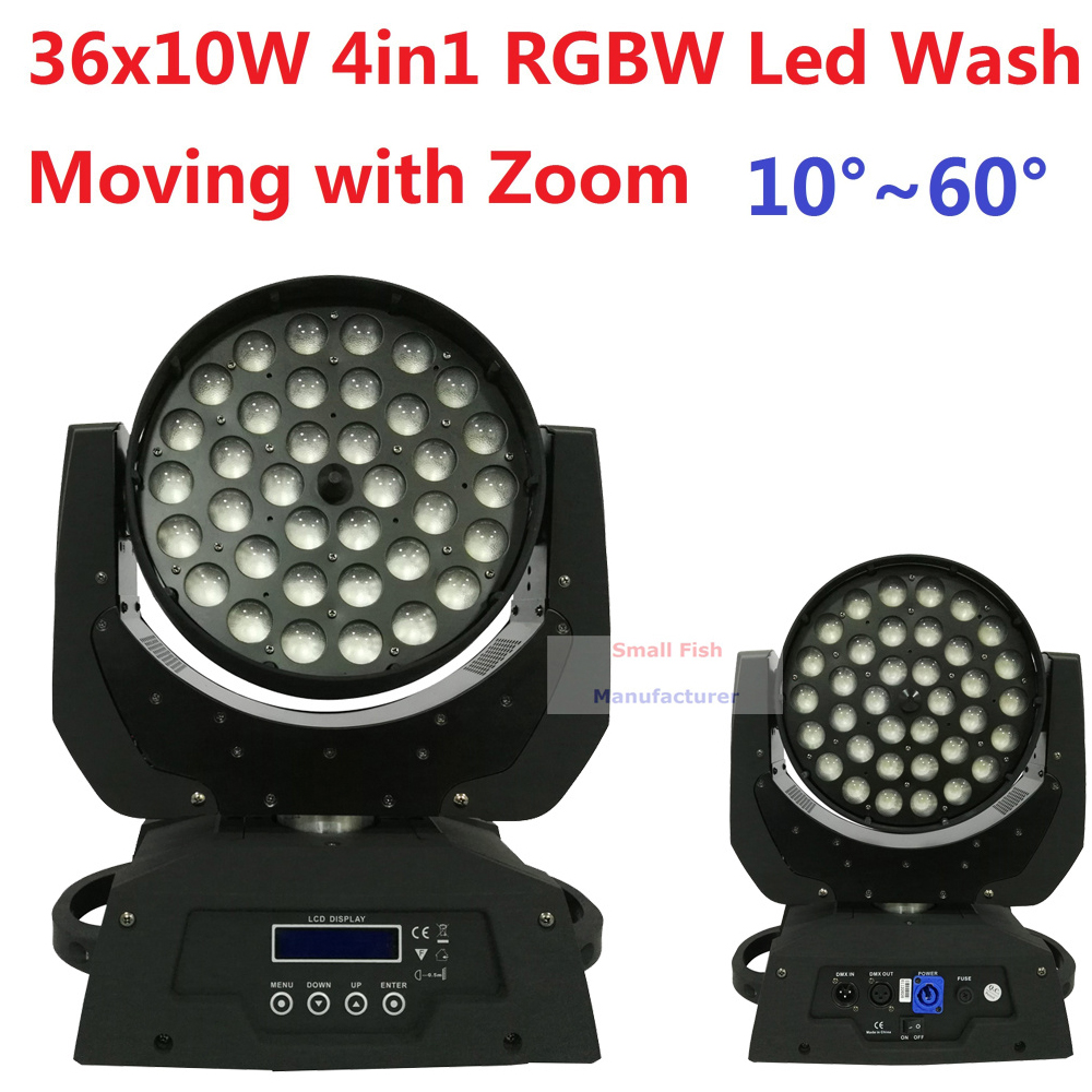 Free Shipping 36x10W RGBW 4in1 Led Wash Beam Moving Head Led Stage Lights with Zoom DJ DMX Disco Effect Equipments Party Wedding 8pcs high brightness rgbw 7x12w led moving head light 4in1 dmx512 rotating dj disco stage lights party effect lamp free shipping