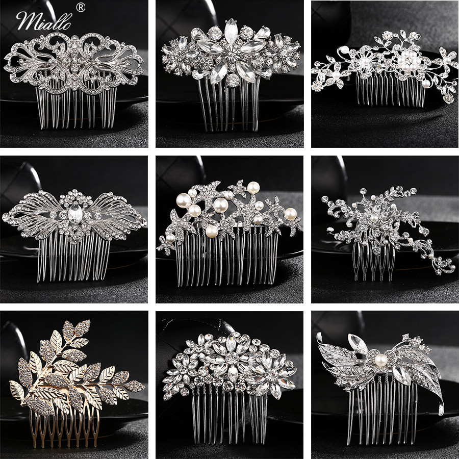 Miallo Elegant Wedding Hair Combs for Bride Crystal Rhinestones Pearls Women Hairpins Bridal Headpiece Hair Jewelry Accessories