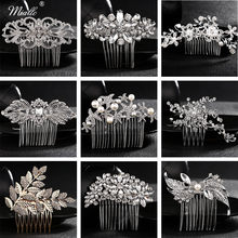Miallo Elegant Wedding Hair Combs for Bride Crystal Rhinestones Pearls Women Hairpins Bridal Headpiece Hair Jewelry Accessories(China)