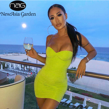 NewAsia Double Layers Ruched Bodycon Dress Women Summer Dress 2019 Strap Mini Party Dresses Pleated Slim Fit Sexy Night Dress applique pleated night dress