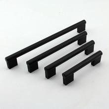 modern simple Brushed black kitchen cabinet dresser wardrobe door handles pulls knobs 96mm 128mm 160mm 160mm 192mm  5″ 6.3″