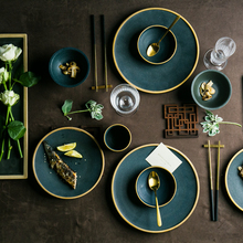 NIMITIME Ceramic Japanese Style Round Steak Plate Dish Rice Bowl Soup Green Color Series Tableware Dinner Set