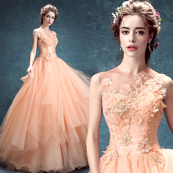 Light Salmon Pink Flower Beading Veil Gown Medieval Dress Renaissance Cosplay Victoria Gothic Marie