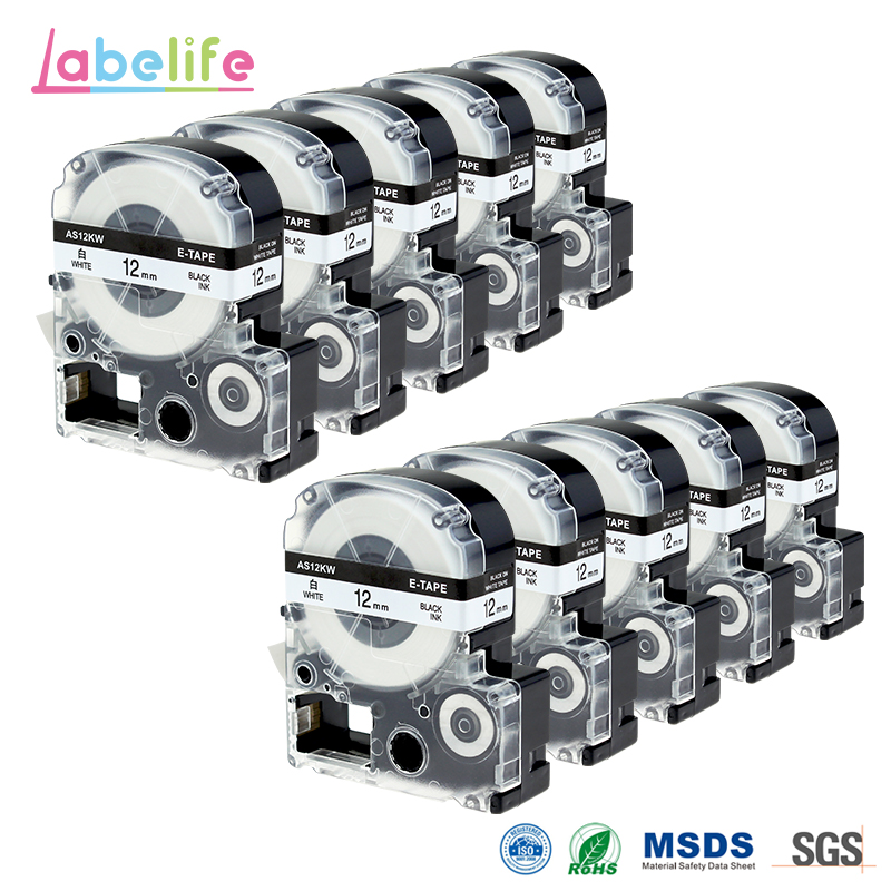 Labelife 10 Pack SS12KW LC 4WBN Compatible Epson LabelWorks LK Tape Standard 12mm Black on White