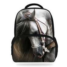 19ad7672baa 14 inch Kinderen Dier Schooltas Tiener Meisje Rugzak Paard Bookbags Voor Kids  Jongens(China)