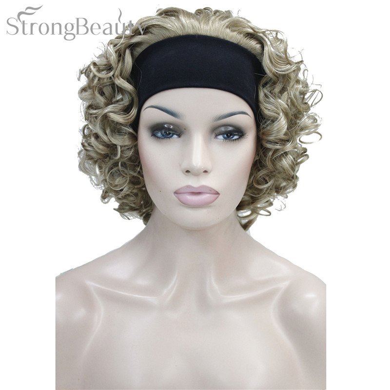 StrongBeauty Synthetic Hair Fake Short Kinky Curly Blonde Black Wig With Headband Wigs Natural For Black Women