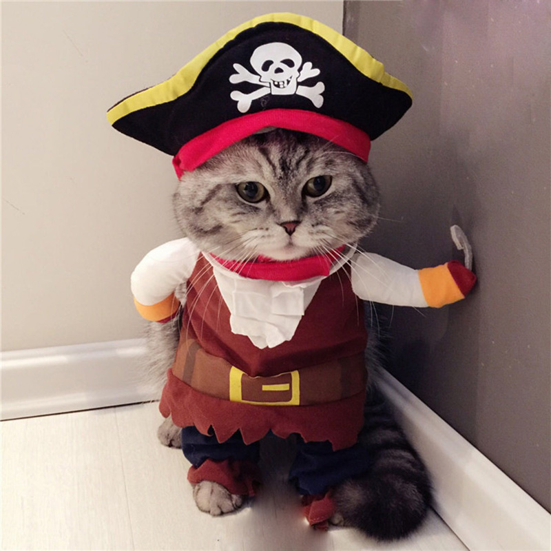 Funny Cat Costume Pirate Suit Cat Clothes Corsair Halloween Costume Puppy Suit Dressing Up Party Clothes For Cat