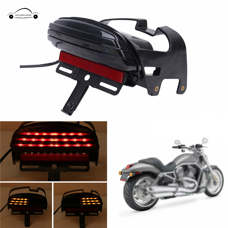 Motorcycle License Plate Bracket Rear Fender Led Tail Light Lamp Assembly Cafe Racer For Harley Dyna Fat Bob FXDF 2008-2016 / evomosa motorcycle led brake tail light turn signals lamp integrated license plate bracket light for custom bobber cafe racer