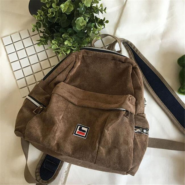 Harajuku Women Corduroy Backpack British Style College Students Backpack School Bag For Teenagers Girls Daily Backpack M441