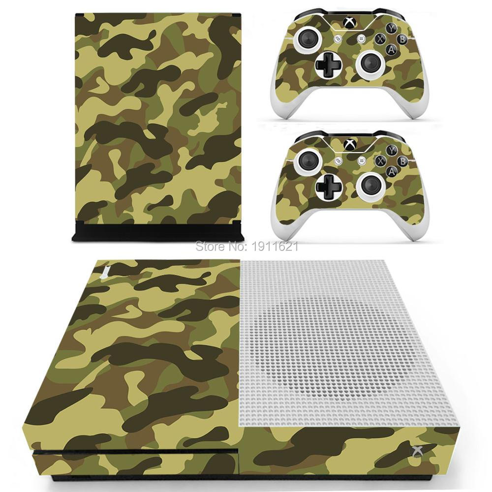 Camouflage Pattern Skin Sticker For Xbox One S Console + 2Pcs Free Controller Cover Decals