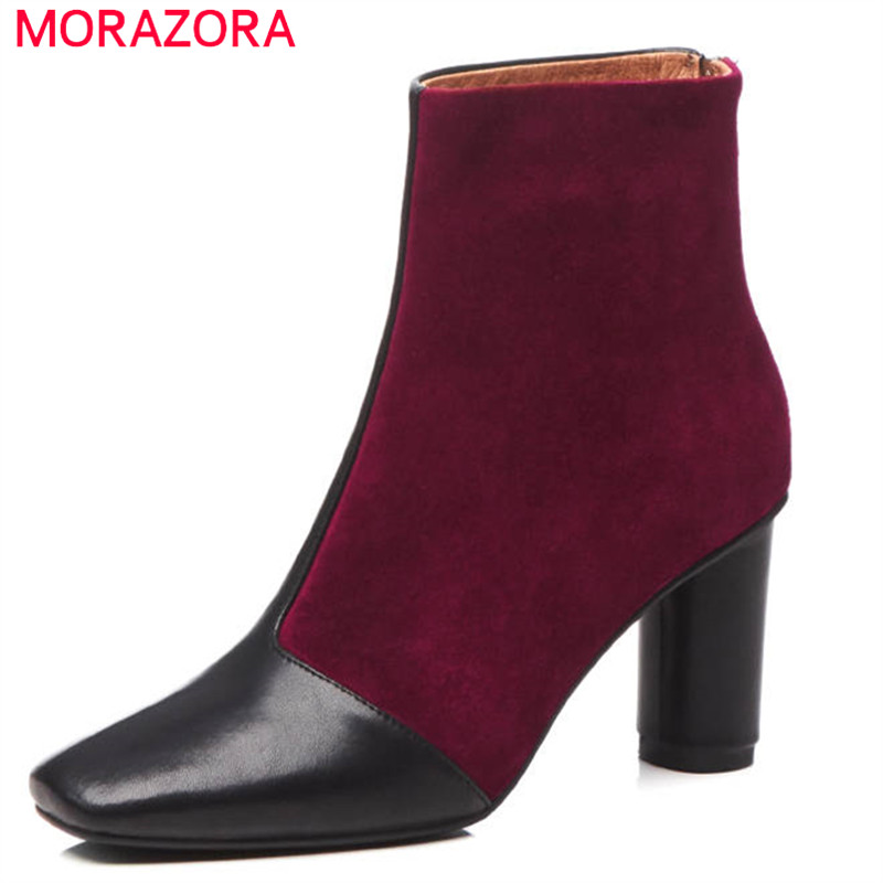 MORAZORA 2018 top quality genuine leather ankle boots for women mixed colors autumn winter boots high heels office ladies shoesMORAZORA 2018 top quality genuine leather ankle boots for women mixed colors autumn winter boots high heels office ladies shoes