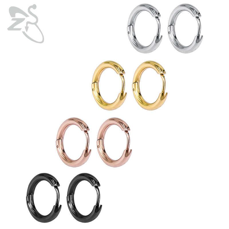 b1932680273d7 Small Hoop Earrings Silver Gold Stainless Steel Hoop Earring for Women Men  Ear Rings Clip Colored Creoles Huggie Circle Earrings