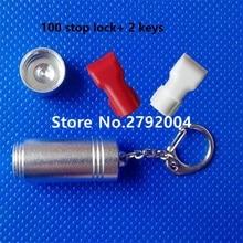 100pcs/lot Wholesale retail anti-theft double loop hook stop lock security display lock+2pcs magnetic detacher keys