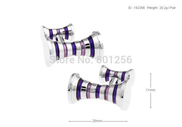 Cuff Links Double Design Stripe Purple Color Copper Material Accessaries Cufflinks Wholesaleretail