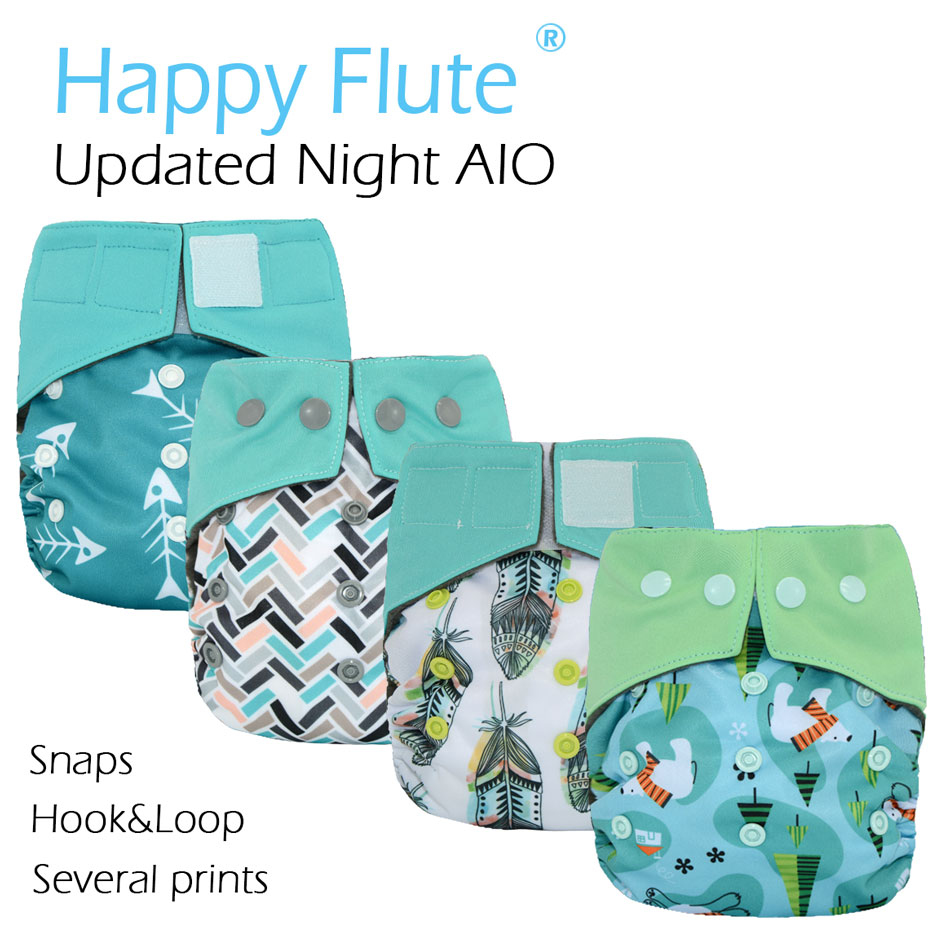 New Prints Happy Flute OS Updated Night AIO Cloth Diaper With Sewn Insert,charcoal Bamboo Inner,S M L Adjustable