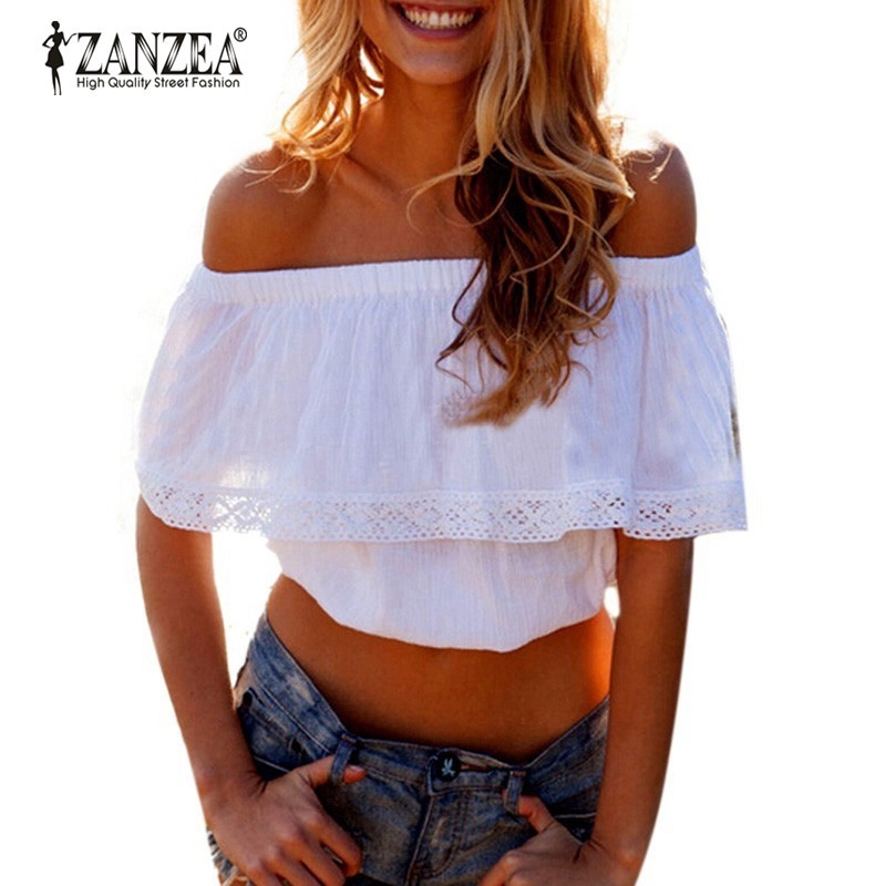 Blusas 2018 Summer Style Womens Boho Blouse Sexy Women Lace Patchwork Casual Off Shoulder Solid Shirts Slash Neck Tops