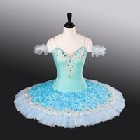 FLTOTURE Blue Bird Stage Costumes Girls Dance Tutu 10 Layers Skirt Child Elastic Fabric Ballet Dress Sky Blue Ballet Tutus
