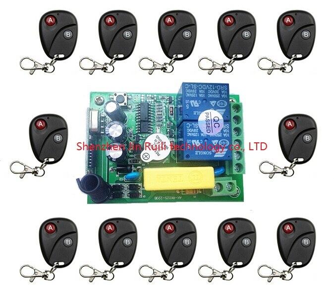 AC220V 2ch 2channe Беспроводной Дистанционное управление переключатель Системы teleswitch 1 * приемник + 12 * передатчики для Приспособления ворота гаража...