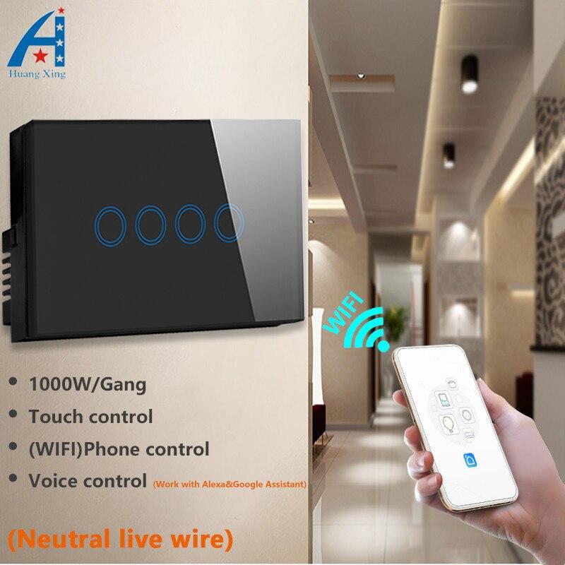 Norme AU/US commutateur de lumière de mur de Wifi de 4 gangs 2.4G, commutateur de contrôle intelligent sans fil d'appli avec la commande vocale d'adjoint d'alexa Google